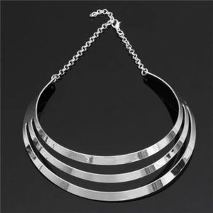 Silver Multilayer Statement Choker Necklace